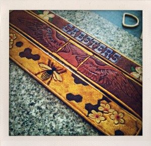 custom carved leather dog collar top strips